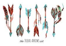 Flèches de tribal d'aquarelle Photographie stock libre de droits