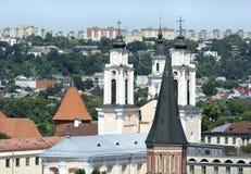 Flèches de ville de Kaunas Image libre de droits