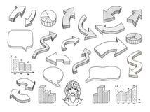 Flèches et ensemble tirés par la main d'illustration de bulles de la parole Photo stock