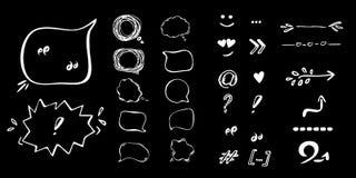 Flèches et ensemble tirés par la main d'illustration de bulles de la parole Photos stock