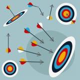 Flèches heurtant la cible Illustration Stock
