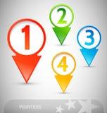 Flèches indicatrices d'information avec des numéros Photographie stock