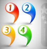 Flèches indicatrices d'information avec des numéros Images libres de droits