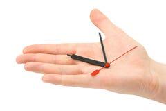 Flèches indicatrices de main et d'horloge Photos libres de droits