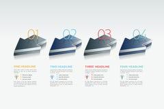 Flèches Infographic 4 étapes diagramme, élément, diagramme Images libres de droits