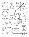 Flèches, minces, courbes, complexes, lignes, lignes pointillées, monochrome, fond blanc Photos libres de droits