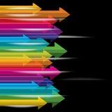 Flèches mobiles colorées Photos stock