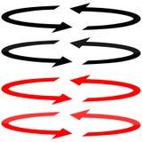Flèches noires et rouges avec dans la direction de double de planéité Photo libre de droits