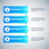 4 flèches numérotées avec différentes options Images libres de droits
