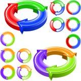 Flèches rondes de couleur Image libre de droits