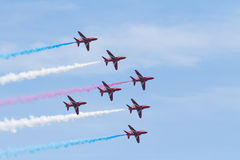 Flèches rouges chez le Pays de Galles Airshow national 2017 Photo libre de droits