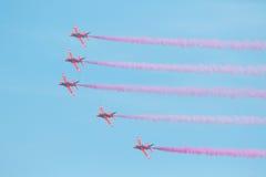Flèches rouges chez le Pays de Galles Airshow national 2017 Images libres de droits