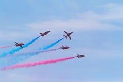 Flèches rouges chez le Pays de Galles Airshow national 2017 Photos libres de droits
