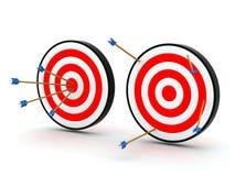 Flèches sur la cible outre de la cible Image stock