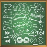Flèches sur le tableau vert Photo libre de droits