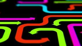 Flèches Varicolored sur la surface noire, illustration 3d Image stock