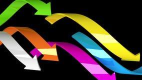 Flèches Varicolored sur le fond noir, illustration 3d Photos libres de droits