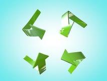 Flèches vertes Photos libres de droits