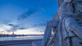 Fléau Rostral St Petersburg Laps de temps de coucher du soleil banque de vidéos