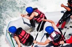 Flößen als Extrem- und Spaßsport stockbild