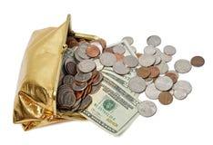 Flöda för påse för guld- mynt kontant Arkivfoto