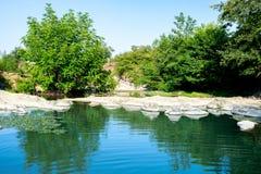 Flöda till och med skogen, en tyst stenig och stenig flod Härlig sikt av naturen Azerbajdzjan Lerik arkivfoton