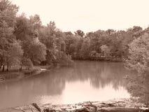 Flödande flod i Missouri Arkivbild