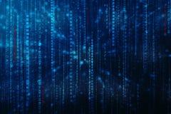 Flödande nummer ett och nolltext i format för binär kod i teknologibakgrund stock illustrationer
