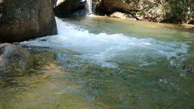 Flödande rent vatten från vattenfallet i sommarsäsong stock video