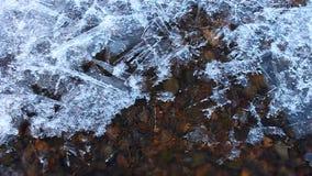 Flödande vatten för tunn is arkivfilmer