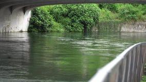 Flödande vatten i den kalla floden via den gamla stenbron stock video