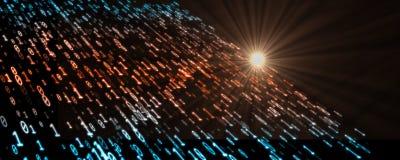 Flöde av binära data, siffror som noll och en flödar i fast mörk bakgrund med solljusstrålen stock illustrationer