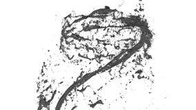 Flöde av metallvätskesnurranden in i en bubbelpool eller en tromb Flödet av metallflytande roterar och bildar en tromb i långsamt lager videofilmer