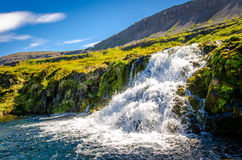 Flöde av vatten på dynjandien Royaltyfri Foto