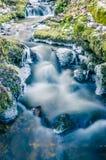 Flöde av vatten på våren av istappar och is Arkivfoton