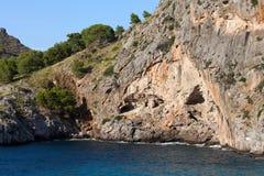 Flöde de Pareis - fjärd för Sa Calobra i Majorca Fotografering för Bildbyråer