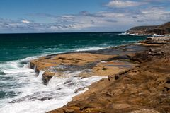 Flöde för kust- vatten Arkivbilder