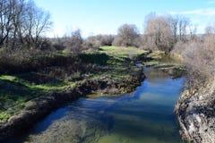 Flöde för vatten för liten dag för bäck skinande trevligt lugna Arkivfoto