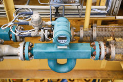 Flödessändare eller funktion för flödesomformareutrustning och överförd PLC-logik till processorn i fossila bränslenproduktionspr arkivfoto