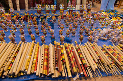 Flöjter konstarbete, indiska hemslöjder som är ganska på Kolkata Royaltyfria Foton