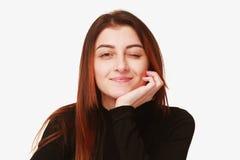 FLÖRT! blinka för ung kvinna (kroppsspråket, gester, psyc arkivbilder