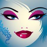 Flörtkvinnaögon och kanter, stilfull makeup och frisyr folk stock illustrationer