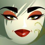 Flörtkvinnaögon och kanter, stilfull makeup och frisyr folk royaltyfri illustrationer
