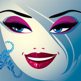Flörtkvinnaögon och kanter, stilfull makeup och frisyr folk vektor illustrationer