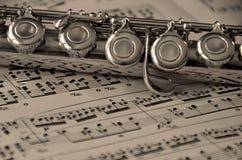 Flöte auf Musik Lizenzfreie Stockbilder