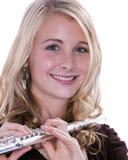 Flöte-Spieler getrennt auf Weiß Stockbilder