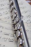 Flöte und alte Blattmusik Lizenzfreies Stockbild