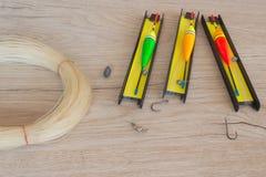 Flöten och fiskekugghjul Arkivfoto