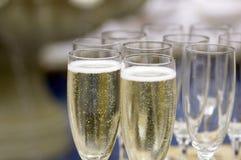 Flöten von Champagne Stockfotos
