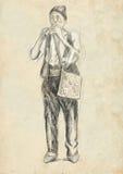 Flötist mit klassischem Musikinstrument Eine Hand gezeichnete lebensgroße Illustration, ursprünglich Lizenzfreie Stockfotos
